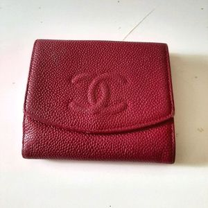 Chanel Small Logo Cc Caviar Pink Coin Purse Squar